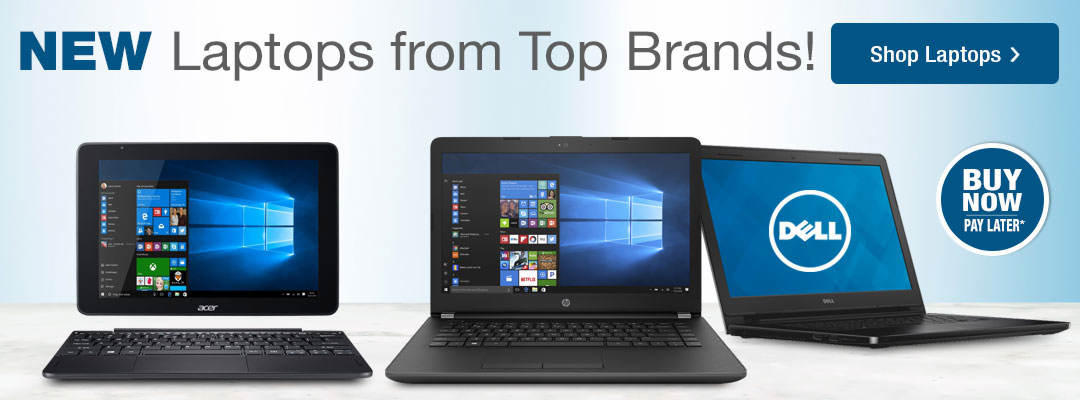 New Laptops from Top Brands such as Acer, Dell and HP! Shop Now!