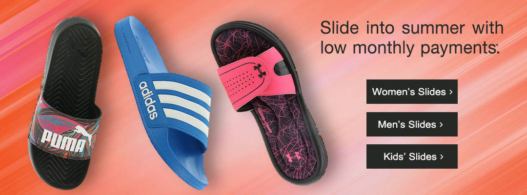 uk availability 8e3f9 d2793 Slide into summer with low monthly payments. Shop slide sandals for women,  men and