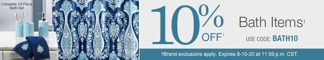 Take 10% off bath items with code BATH10 through August 10.