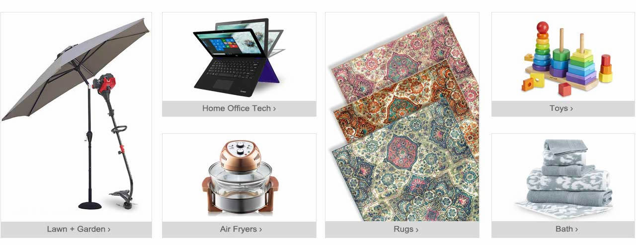 So many ways to shop! Upgrade your surroundings with new Lawn + Garden items and tools. Shop our selection of home office tech. Refresh your rooms with new rugs. Get the kids some new toys. Find a wide assortment of bath items, plus amazing air fryers. Start exploring!