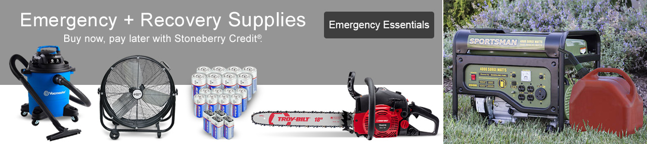 Shop supplies to handle your emergencies today, pay later with Stoneberry Credit.