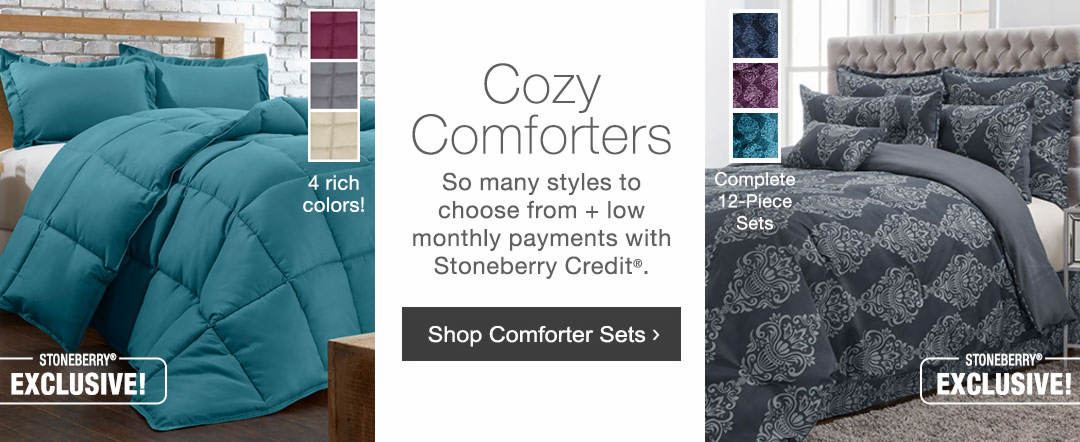 Cozy comforters are here. So may styles to choose from with low monthlay payments with Stoneberry Credit. Shop comforter sets now.