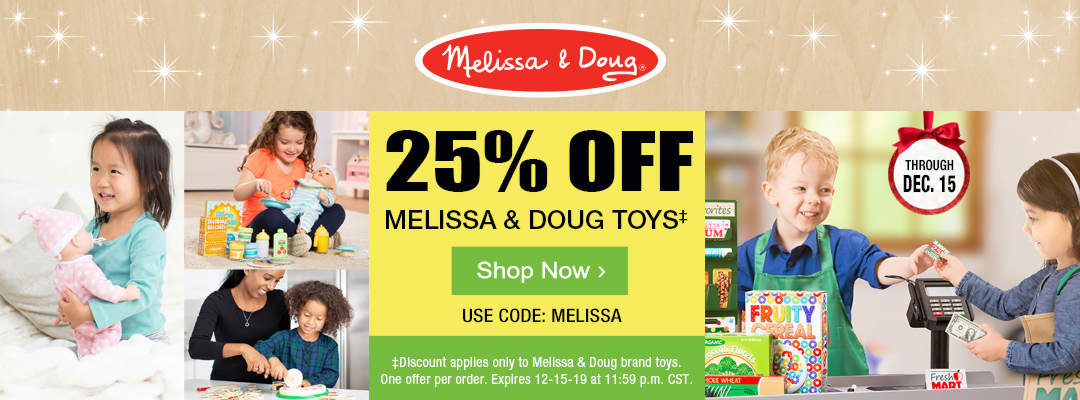 Take 25% off Melissa and Doug Toys with code MELISSA through December 15. Shop now.