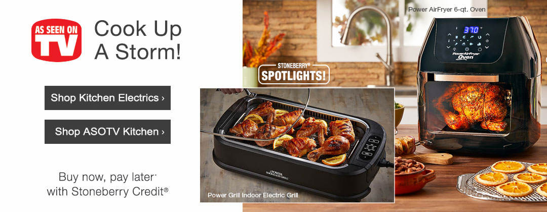 Cook up a storm with kitchen electrics, As Seen on TV kitchen styles and more.