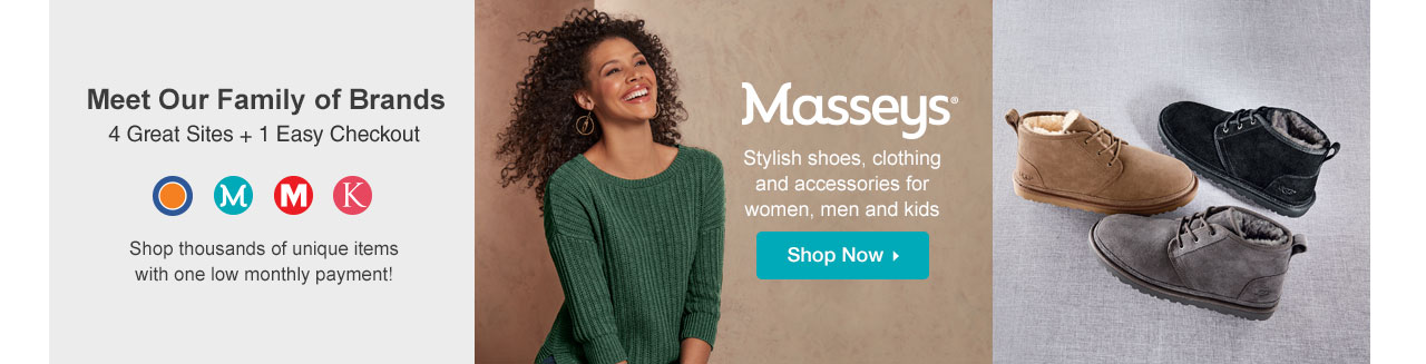 Shop Masseys. Stylish shoes, clothing and accessories for women, men and kids.