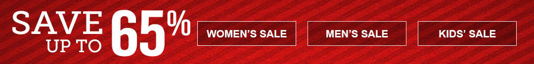 Savings of up to 65% on sale items for women, men and kids.