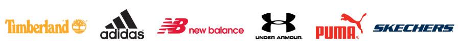Timberland, Adidas, New Balance, Under Armour, Puma, Skechers