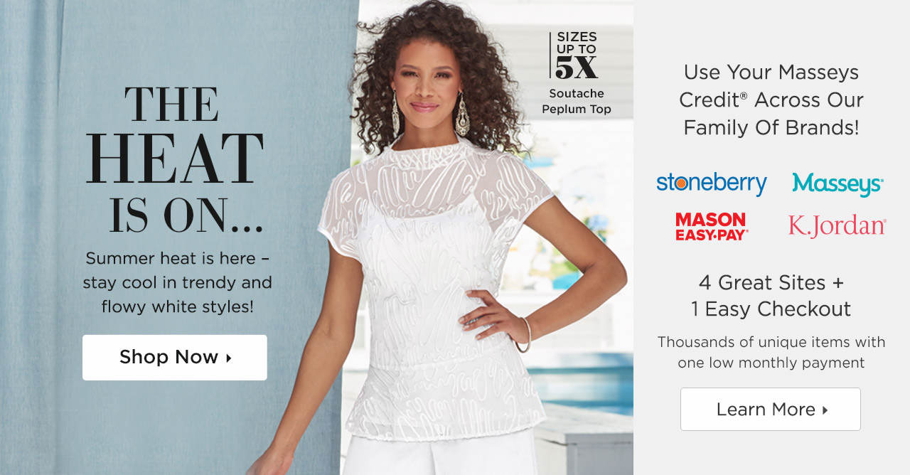 Use Your Masseys Credit Across Our Family Of Brands and Stay Cool in Trendy and Flowy White Styles!