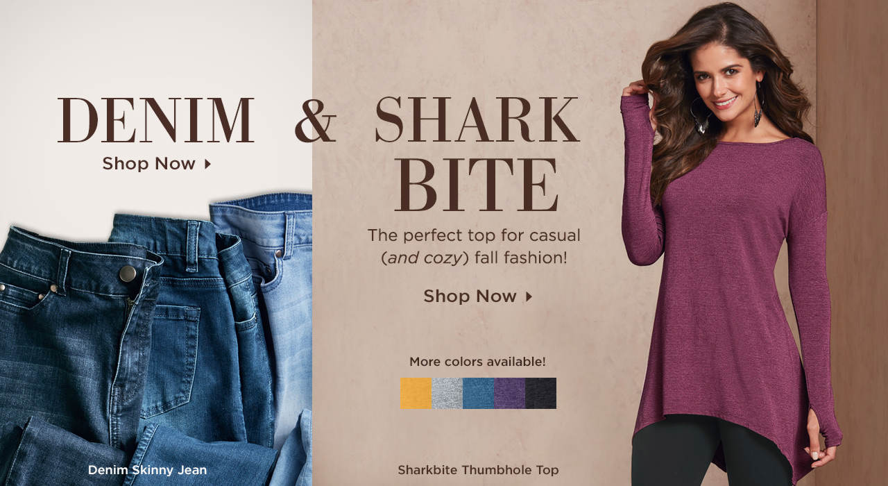 Get Cozy For Fall - Shop the Denim Skinny Jean and Sharkbite Thumbhole Top Today!