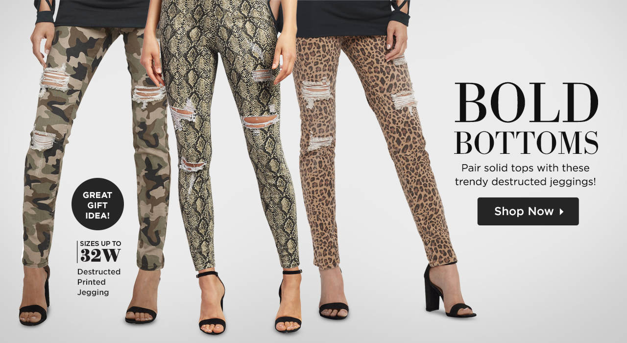 Bold Bottoms - Pair solid tops with these trendy destructed jeggings! Shop Now