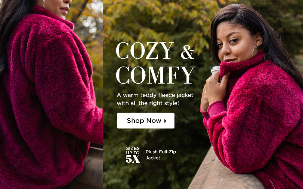 Comfy & Cozy - A warm teddy fleece jacket with all the right style! Shop Now