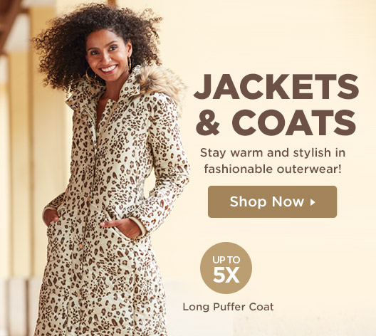 Stay warm and stylish in fashionable outerwear! Shop Jackets and Coats Up To Size 5X