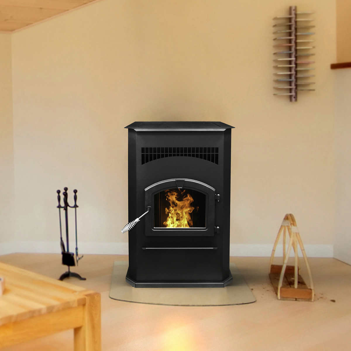 pleasant hearth cabinet pellet stove with 54 4 kg 120 lb hopper