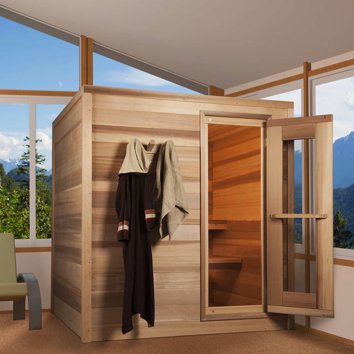 dundalk 6 person western red cedar barrel sauna with porch