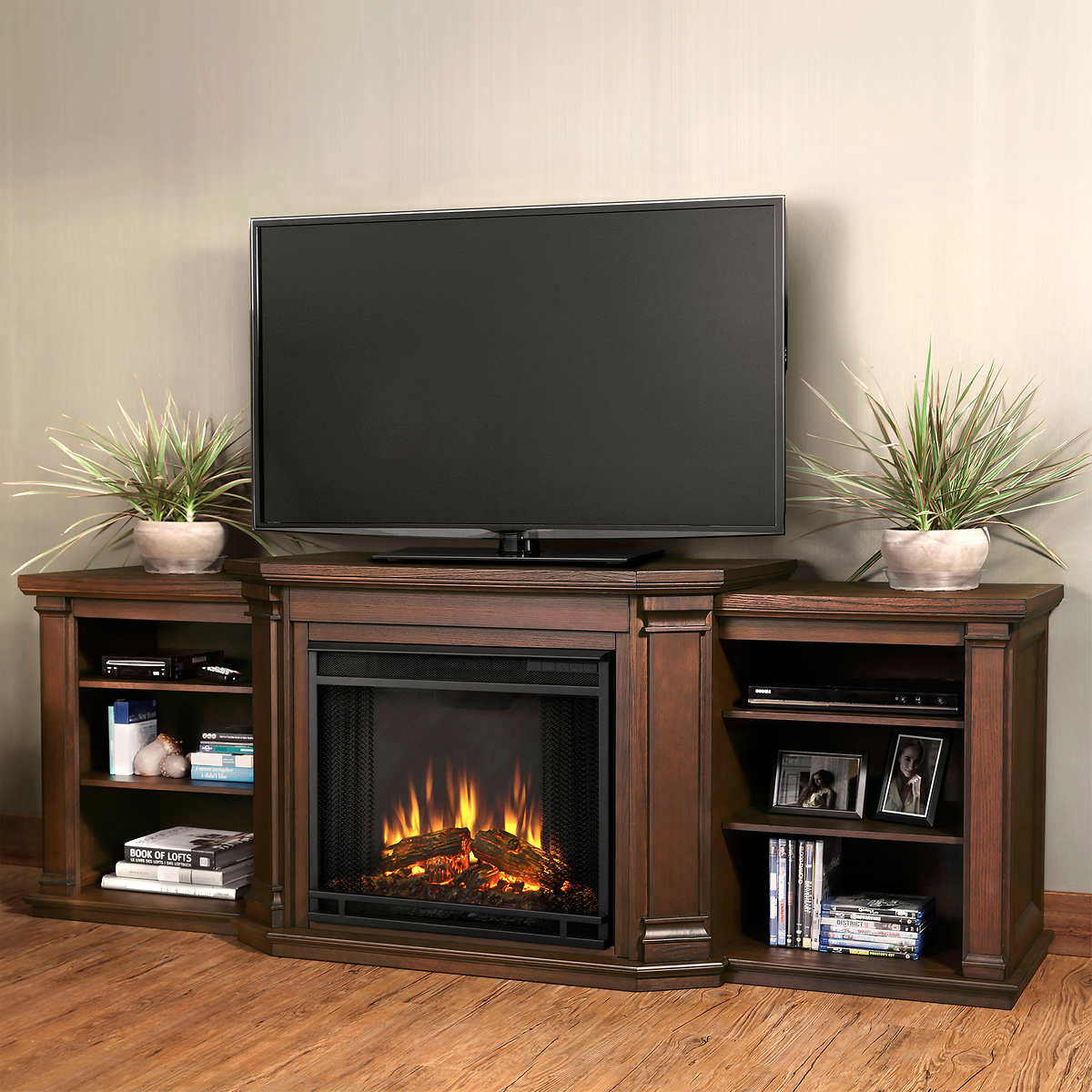 real flame valmont media console electric fireplace dark mahogany