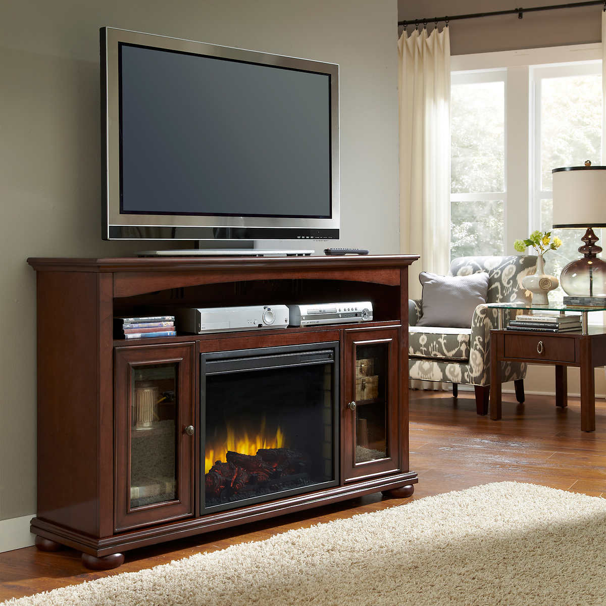 pleasant hearth everest electric fireplace and media console