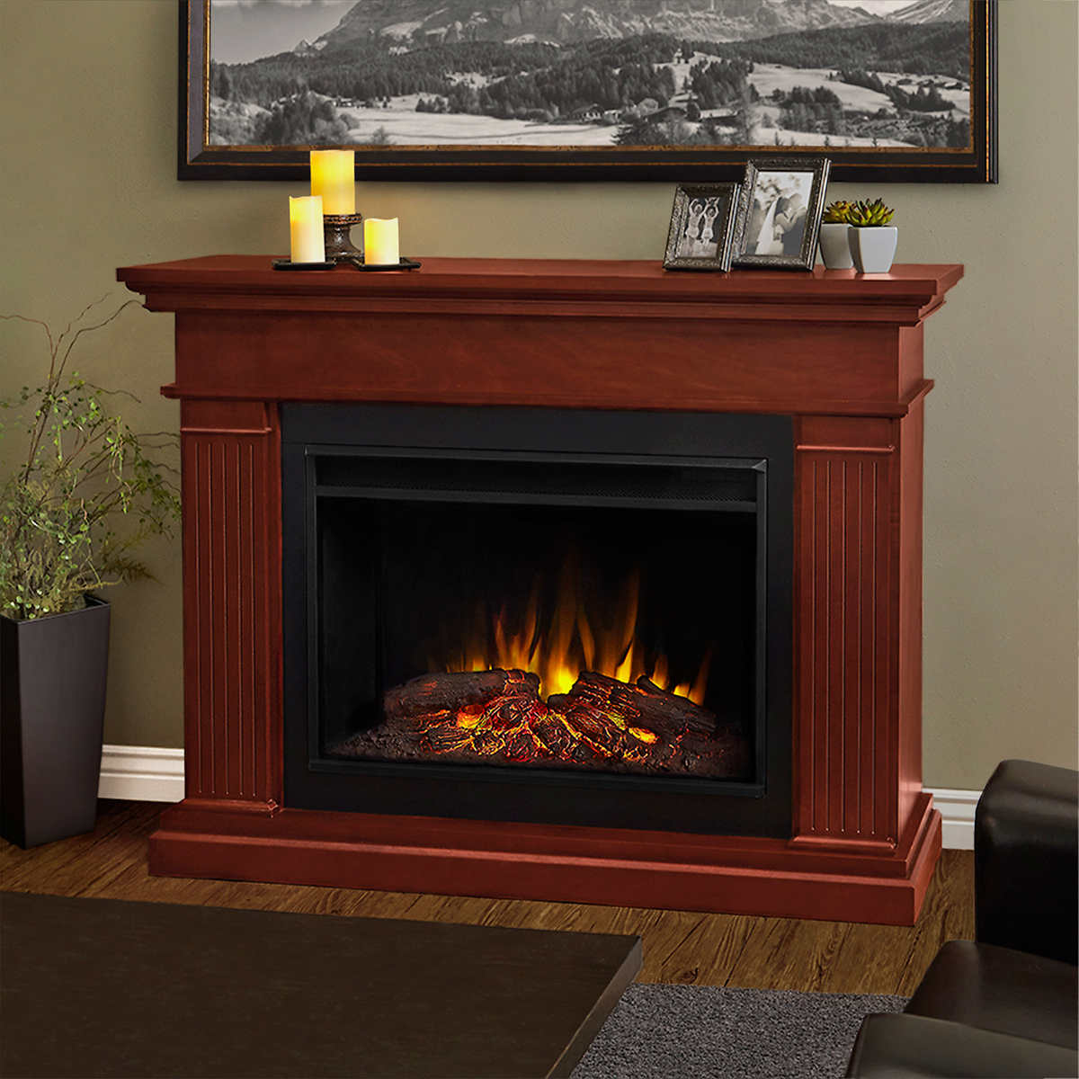 real flame hillcrest mantel electric fireplace white