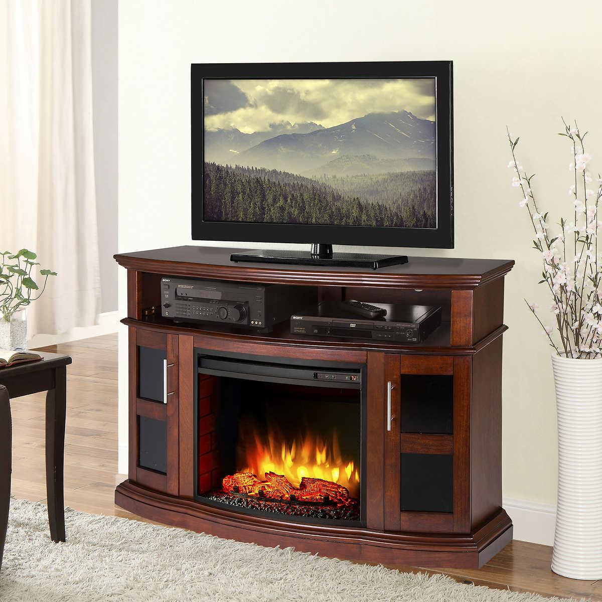 muskoka sloan 53 in media electric fireplace in a rustic brown