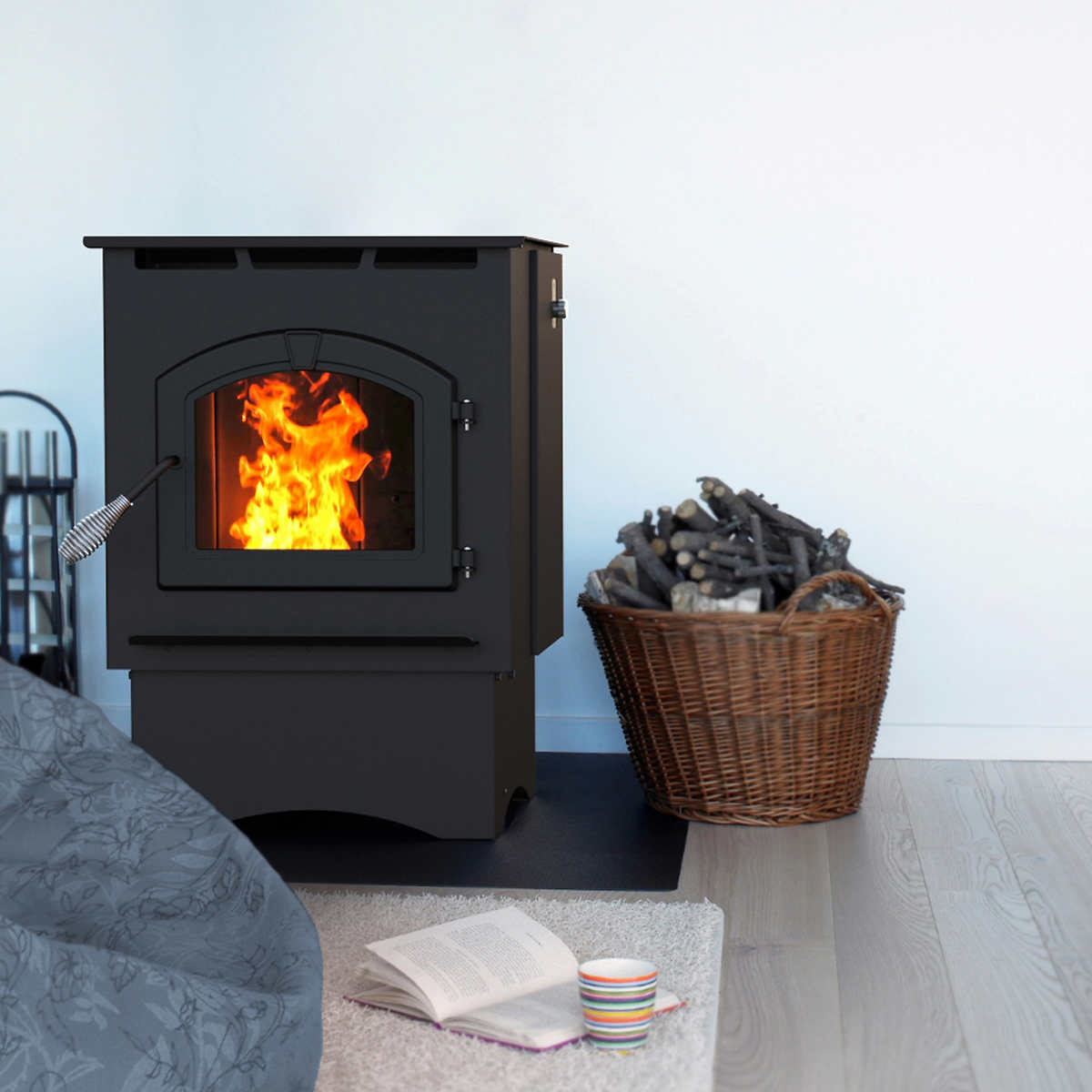 pleasant hearth medium pellet stove with 18 kg 40 lb hopper