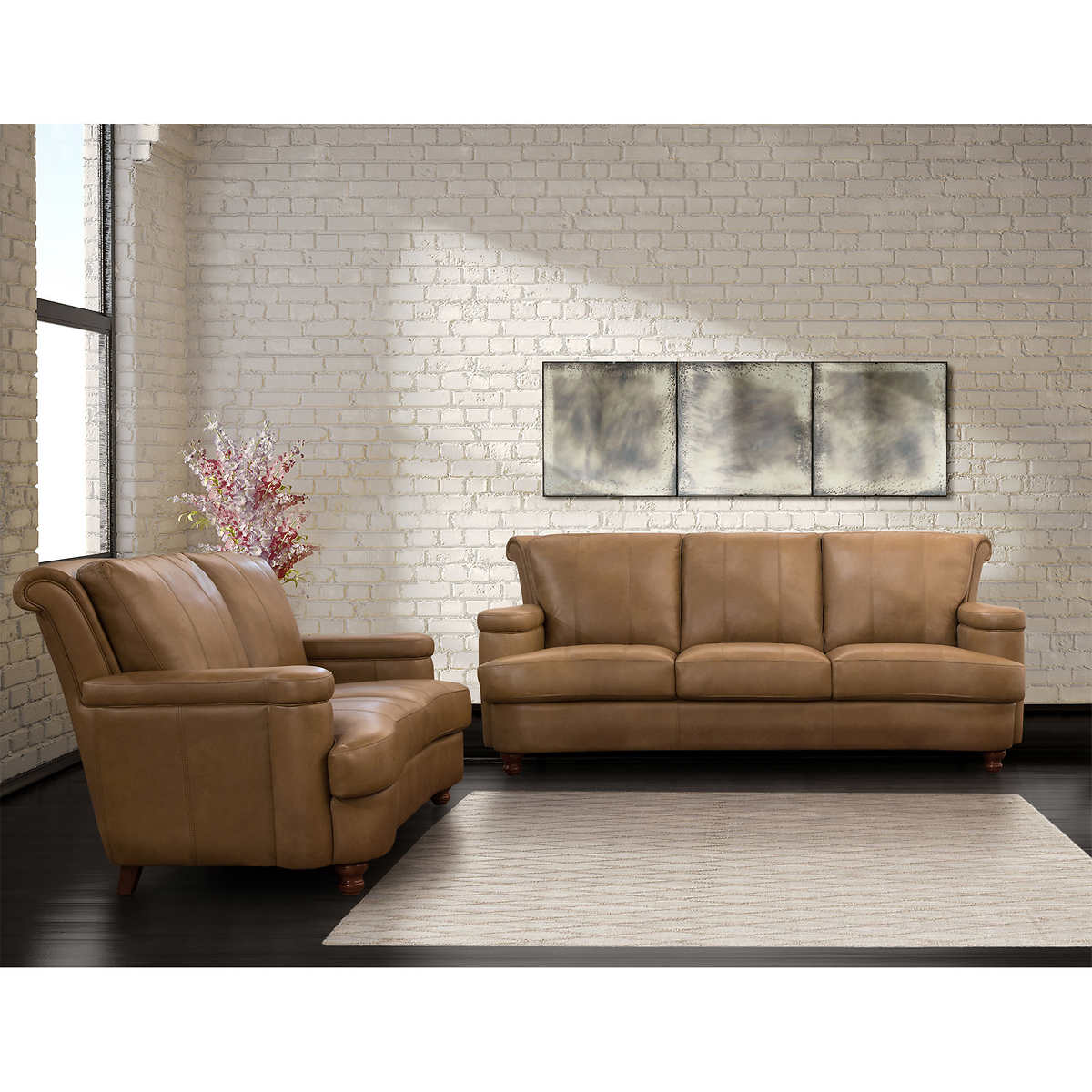 Heritage Top Grain Leather Sofa and Loveseat