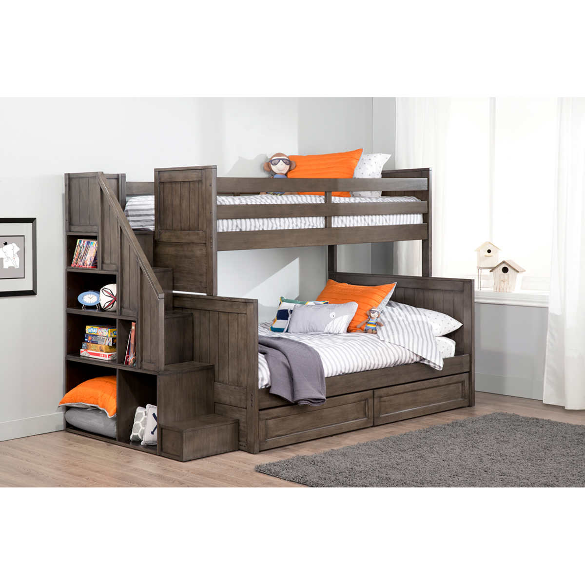 Zachary Twin over Double Bunk Bed with Universal Staircase