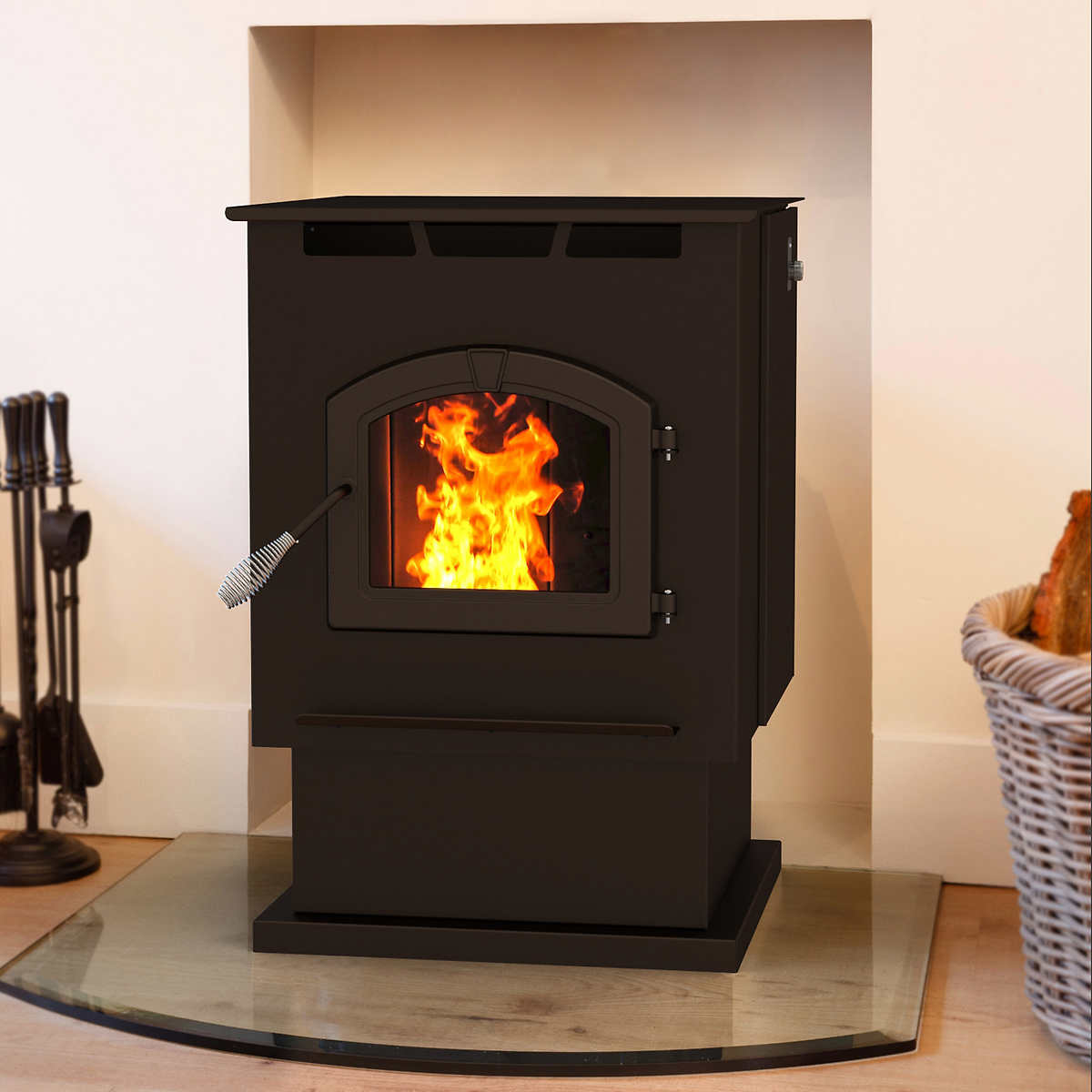 pleasant hearth large wood stove with blower