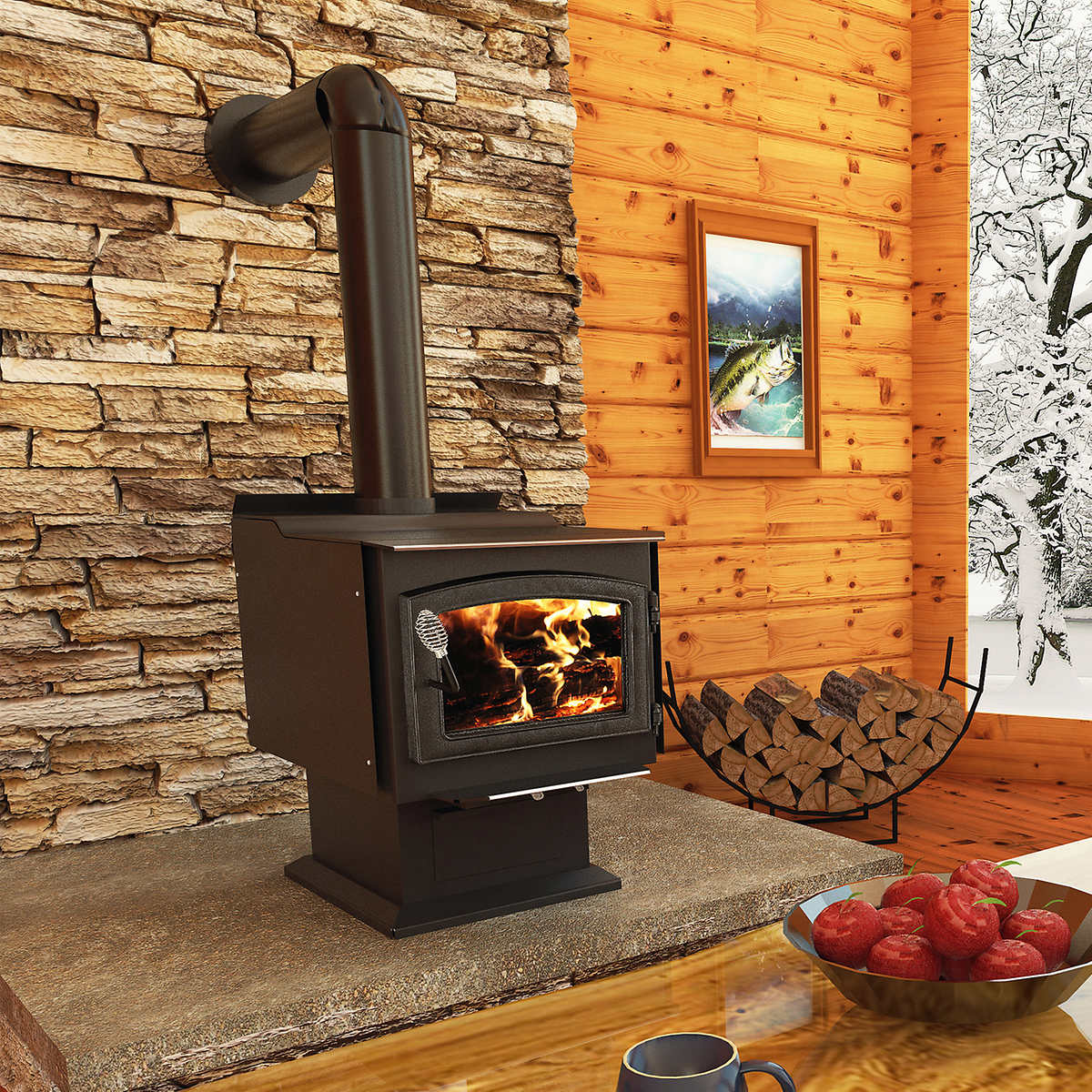 pleasant hearth small wood stove with blower
