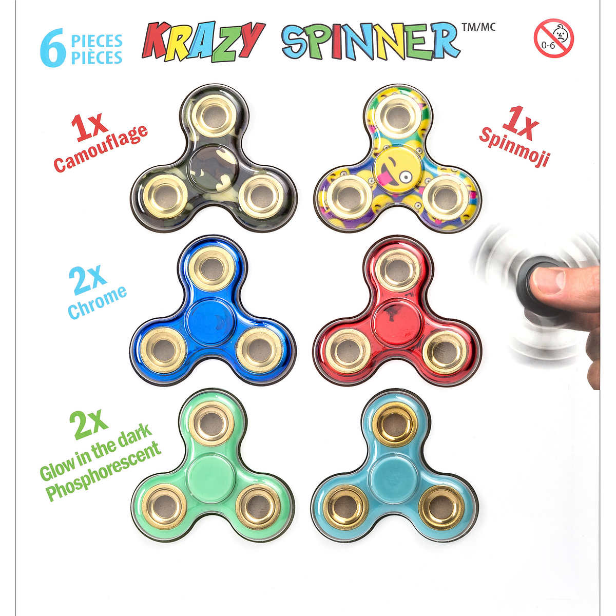 $9.97 Only KRAZY SPINNER 6-pack Free Shipping