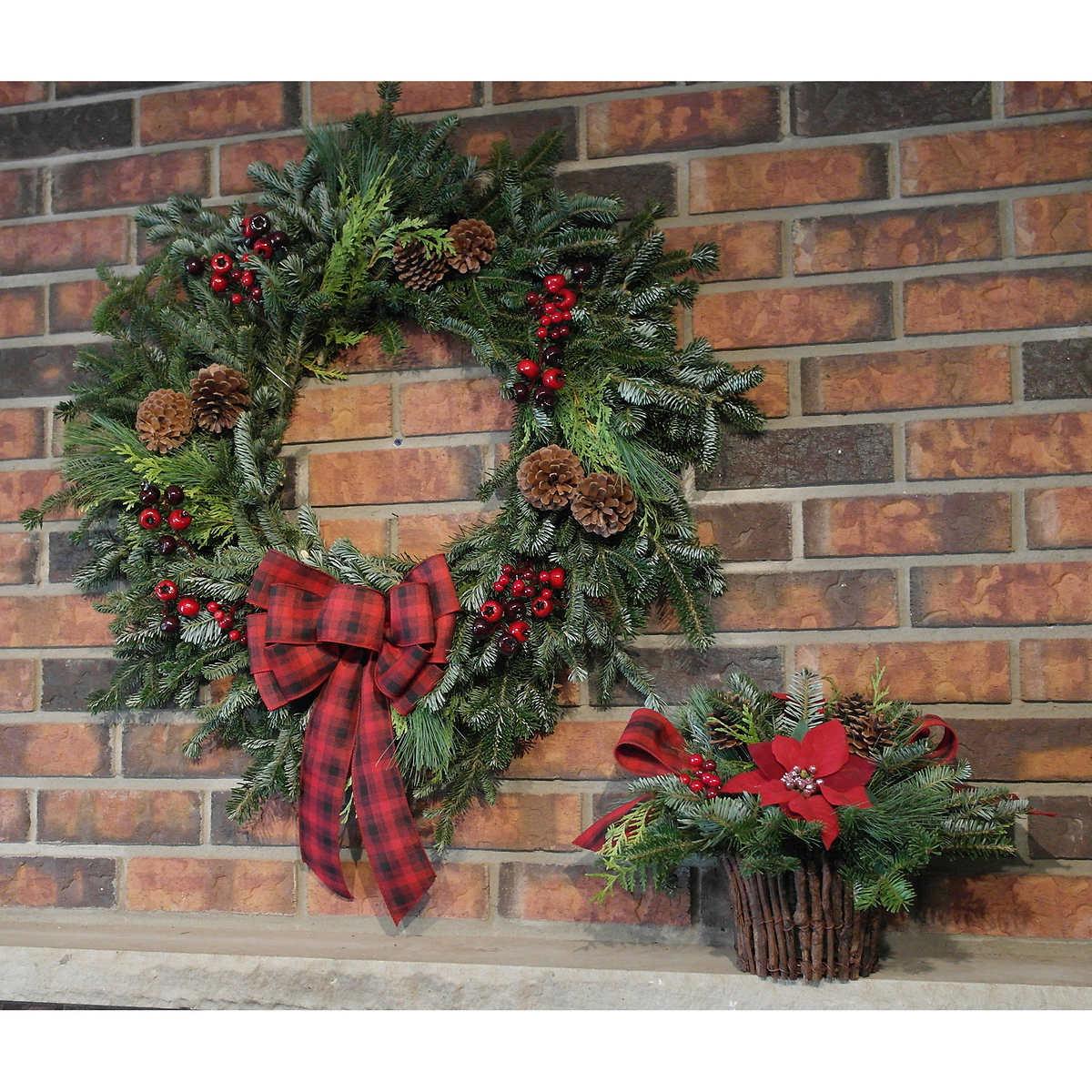 premium winter garden 2 piece wreath and indoor centrepiece set