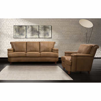 Heritage Top Grain Leather Sofa and Chair
