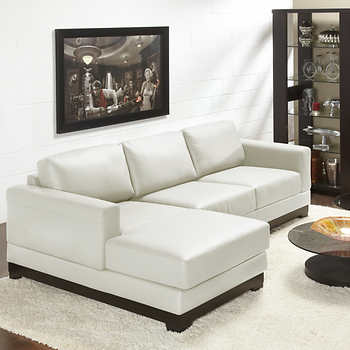 Galaxy Linen Top Grain Leather Sofa with Left Hand Facing Chaise