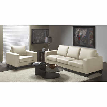 Cortina Linen Top Grain Leather Sofa and Chair