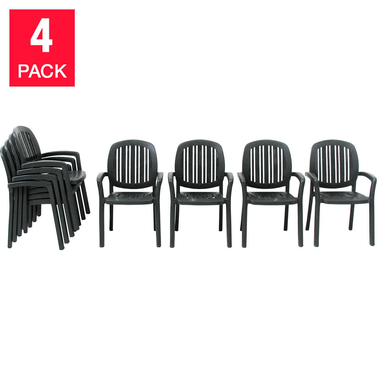 Nardi® Ponza Resin Stackable Armchairs, 4-pack