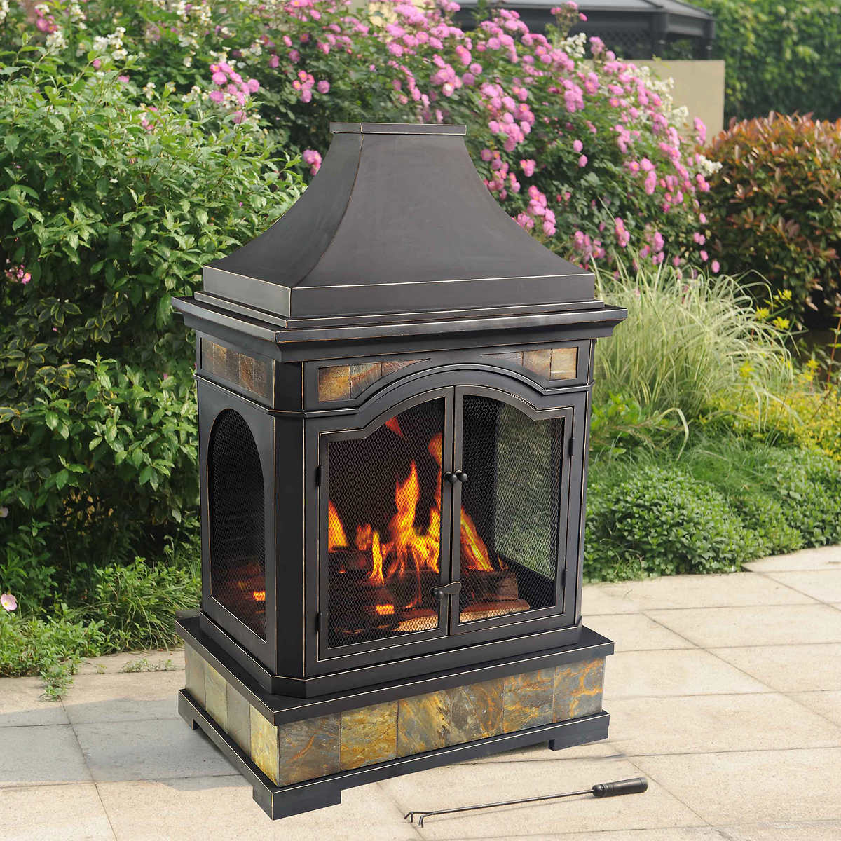 outdoor wood burning fireplace how do real flame. Black Bedroom Furniture Sets. Home Design Ideas