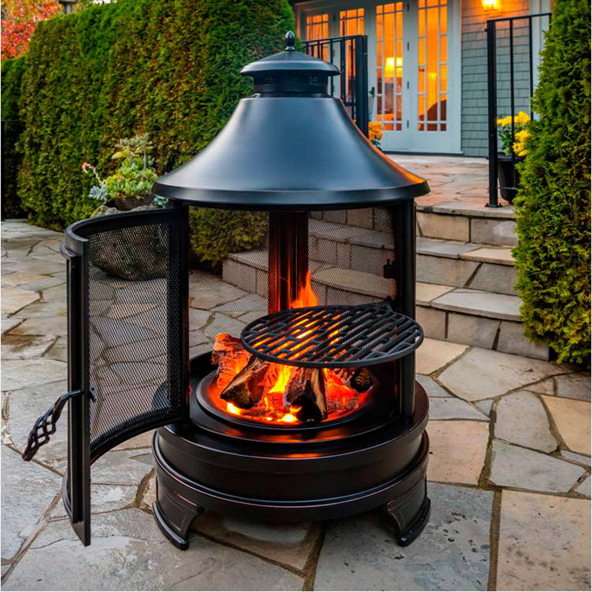 Outdoor Wood Burning Round Cooking Pit - Fire Pit