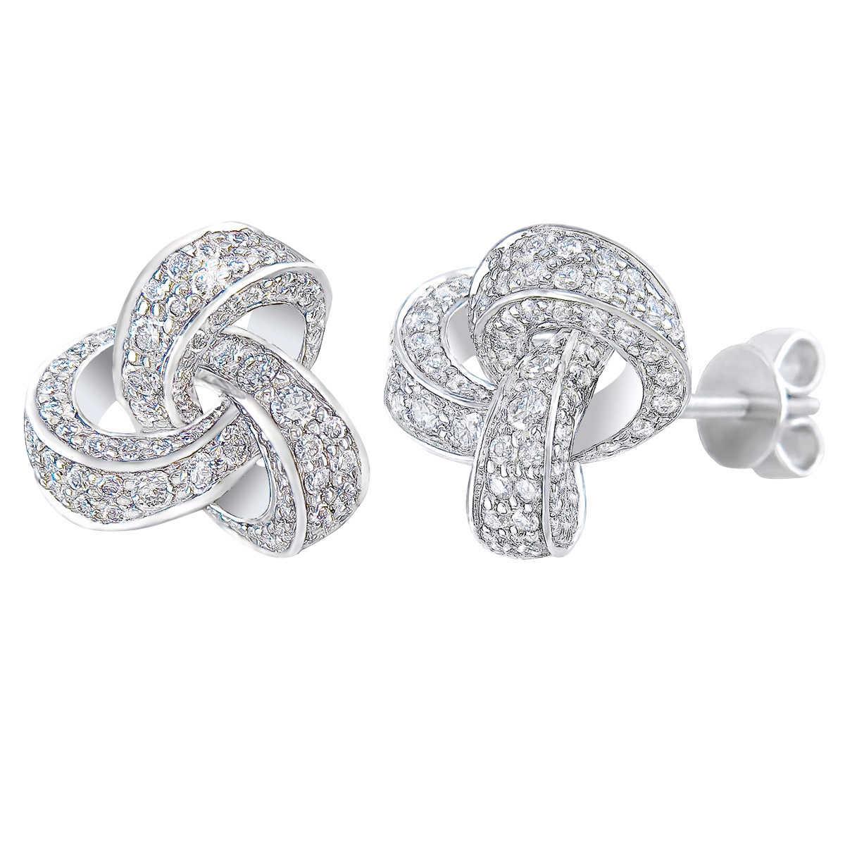 Round Brilliant Diamond Love Knot Earrings (115 Ct)