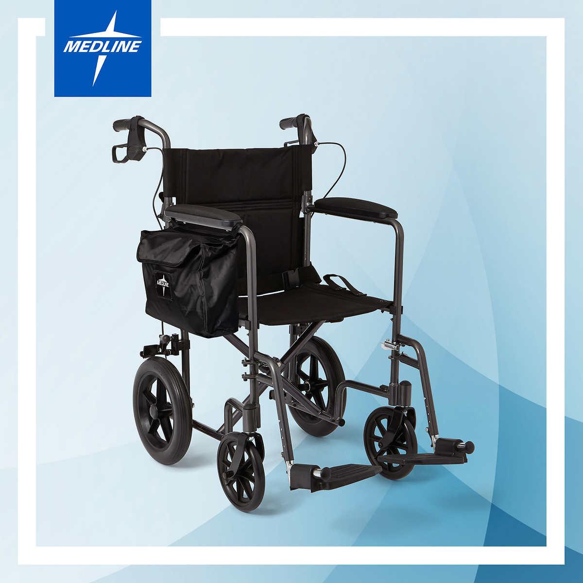 Medline® Elite Aluminium Transport Wheelchair - Titanium Grey