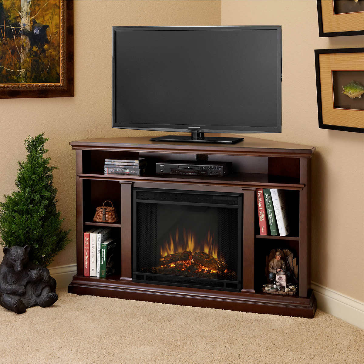 Corner Fireplace Real Flamear Churchill 51 In Corner Electric Fireplace And Media