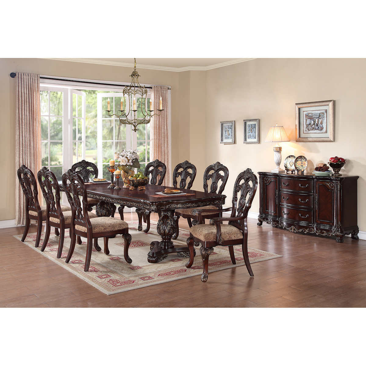 Stunning 10 piece dining room set images for Dining room sets for 10