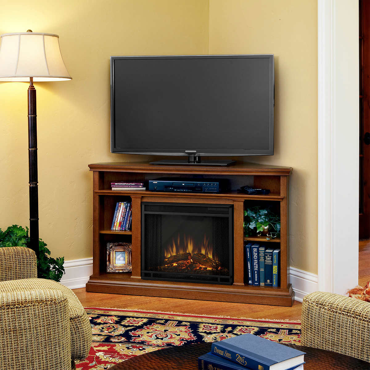 electric fireplaces  costco - corner electric fireplace and media console