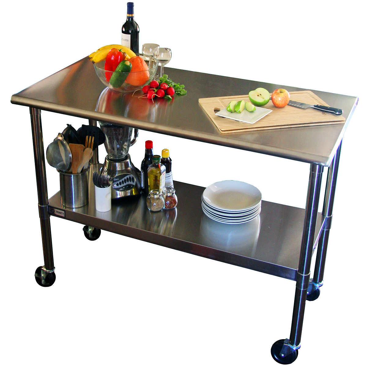 Restaurant stainless steel kitchen work prep table nsf chef shelf com - Trinity Ecostorage Nsf Stainless Steel Prep Table With Wheels