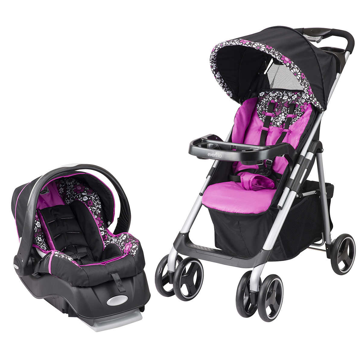 travel systems  strollers  costco - evenflo® vive travel system with embrace lx infant car seat – daphne