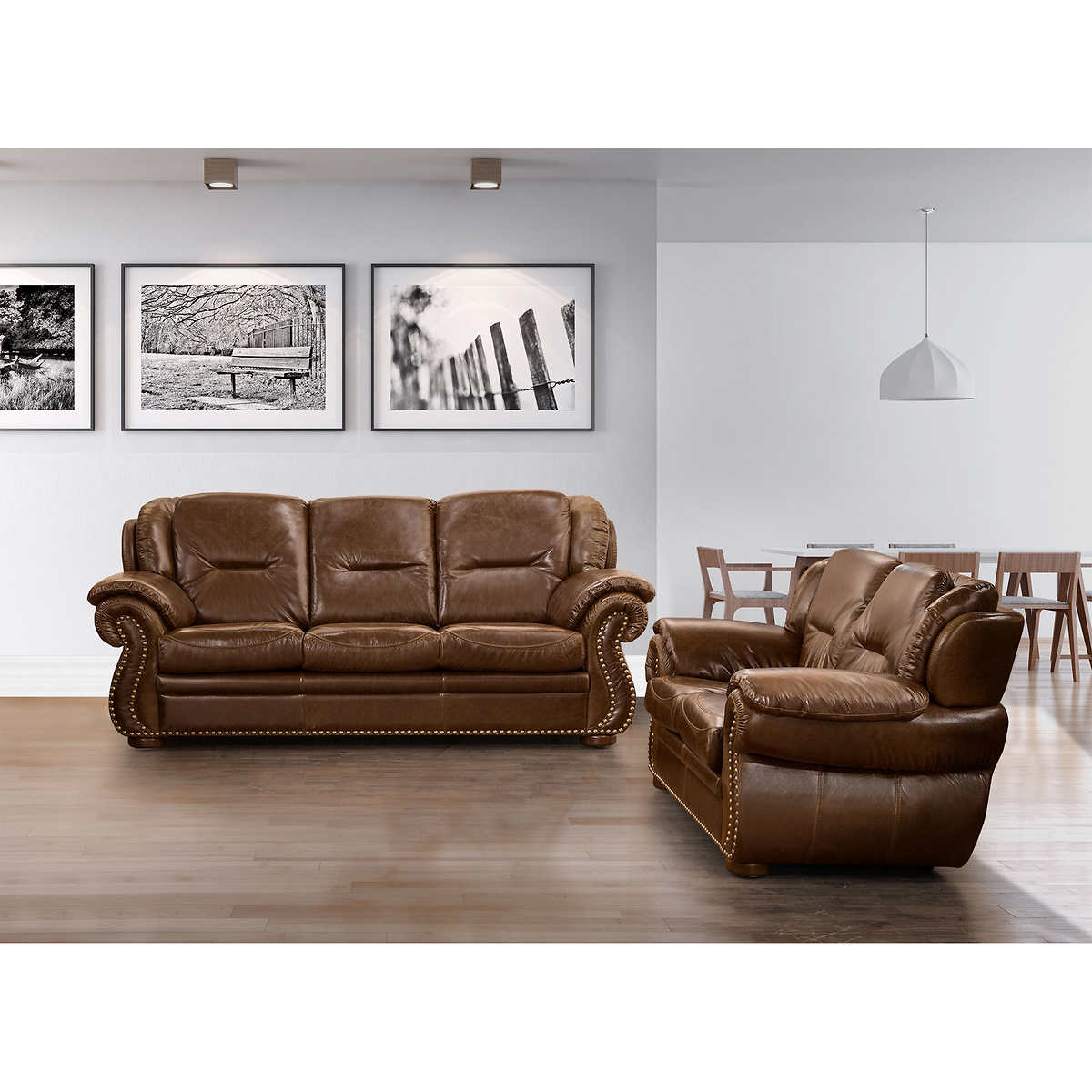Living Room With Brown Leather Couch Sofas Loveseats Costco