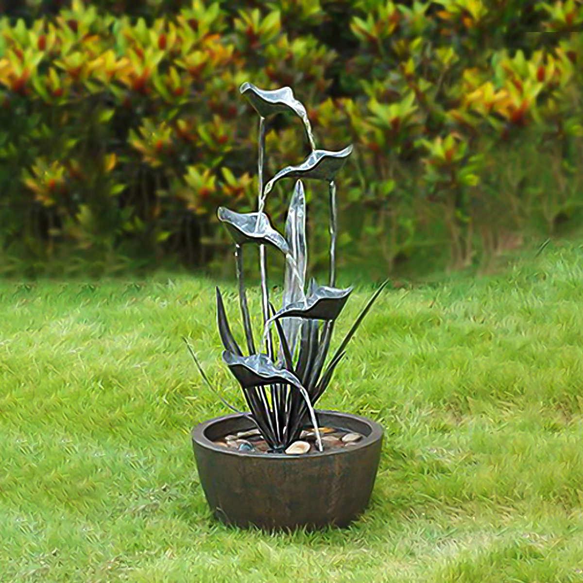 Water fountains calgary - Cascading Metal Leaf Garden Fountain 86 4 Cm 34 In