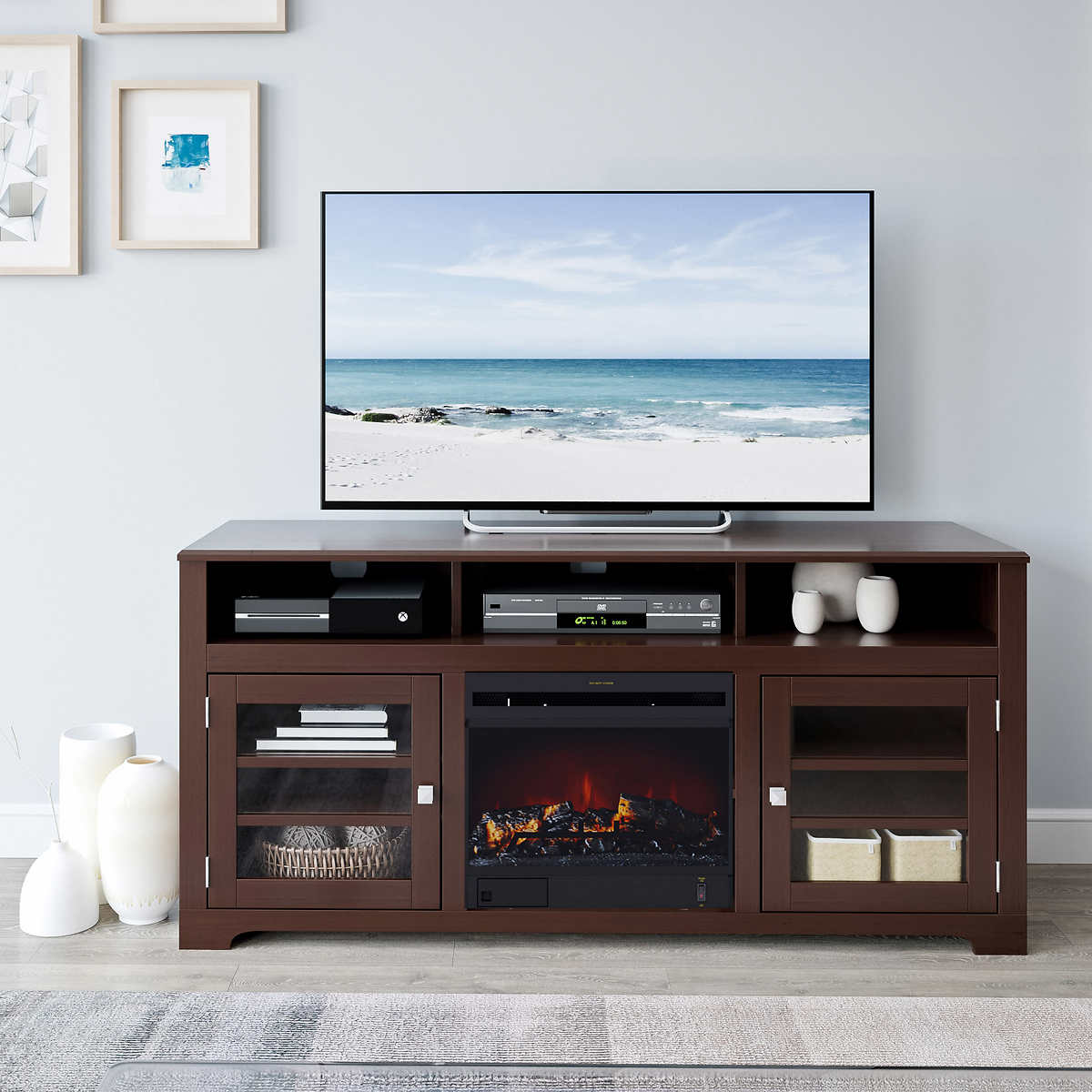 Mink Brown In Television Stand With Electric Fireplace - Costco electric fireplace