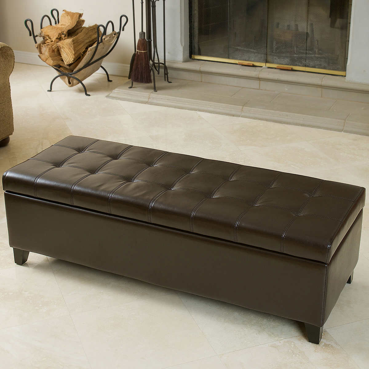 ottomans  benches  costco - fulham bonded leather storage ottoman