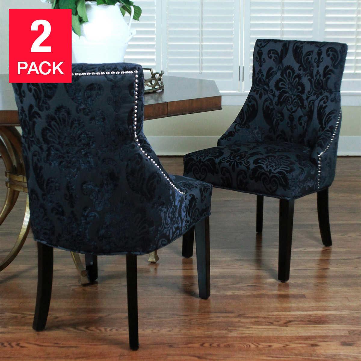 Orange damask chair - Madison Black Fan Damask Chair 2 Pack