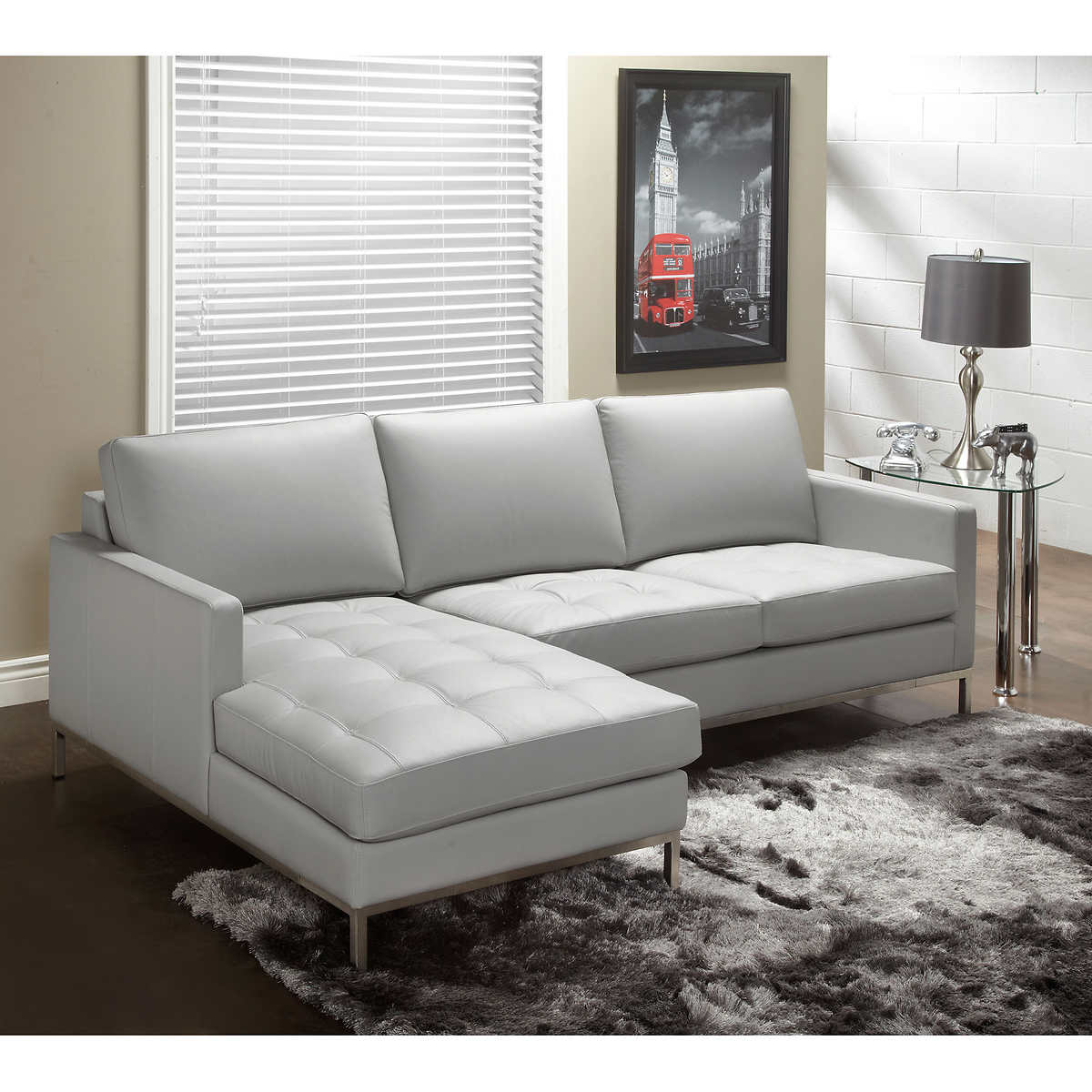 Sorrento Slate Top Grain Leather Living Room Sofa With Left Hand Facing Chaise