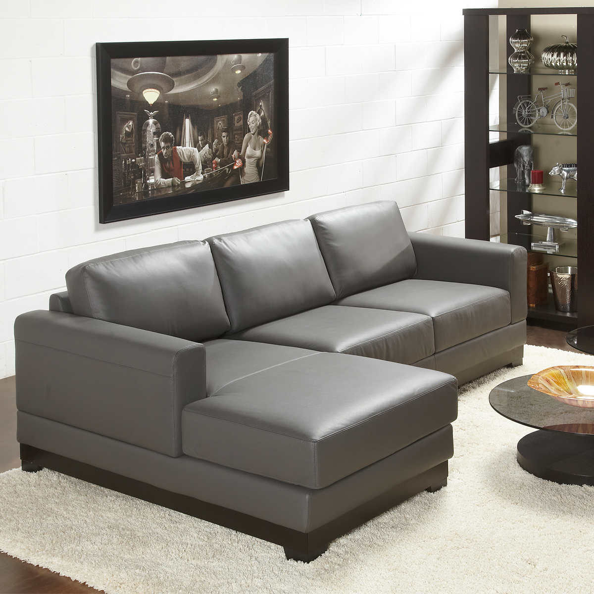 Galaxy Grey Top Grain Leather Sofa With Left Hand Facing Chaise
