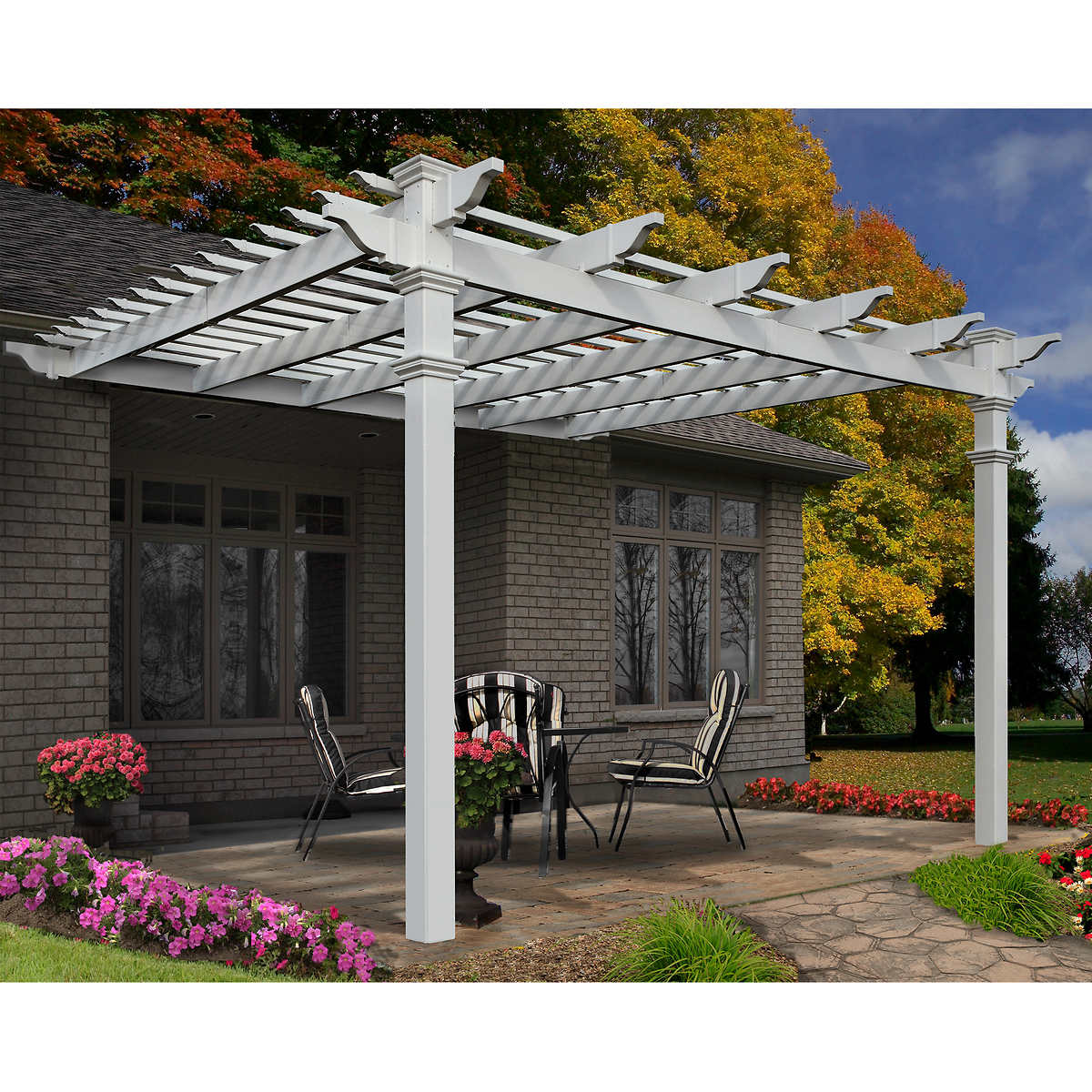New England Arbors 12 Ft X Freemont Attached Pergola